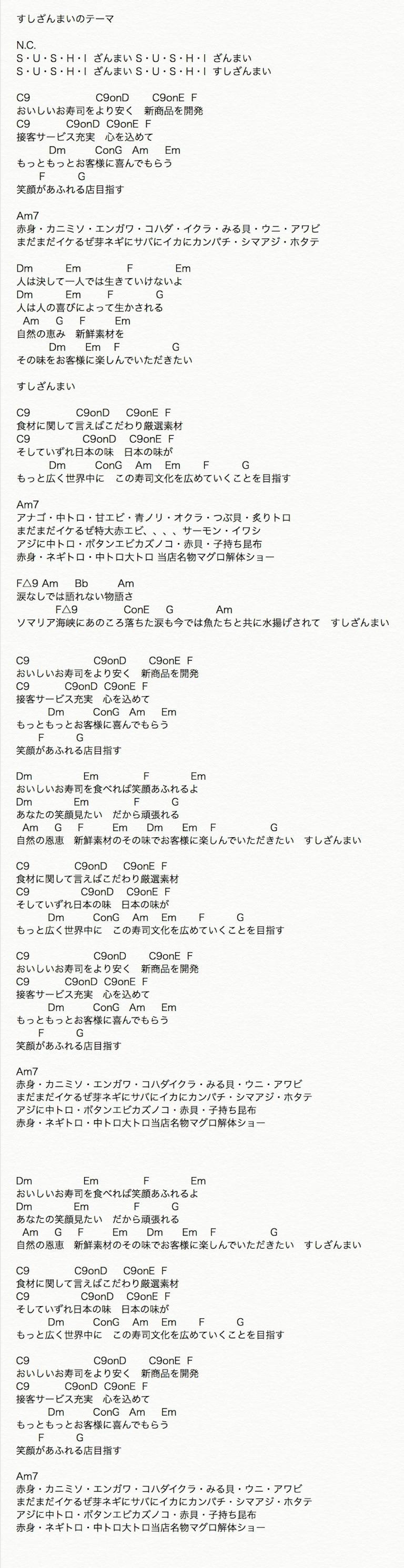 すしざんまいのテーマ弾き語りコード譜面